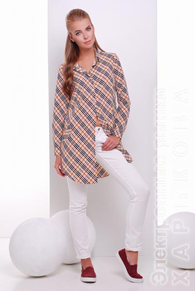 Платье -рубашка бежевая в клетку  TAYLOR - Платья с рукавами, теплые платья на рынке Барабашова