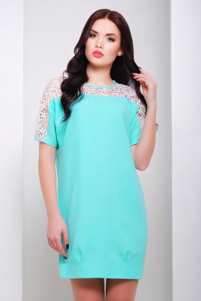 Платье прямое бирюзового цвета  ЗАРА
