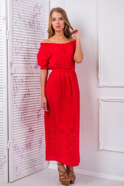 Платье -сарафан из цветного шитья цвет красный  АЛЕСЯ