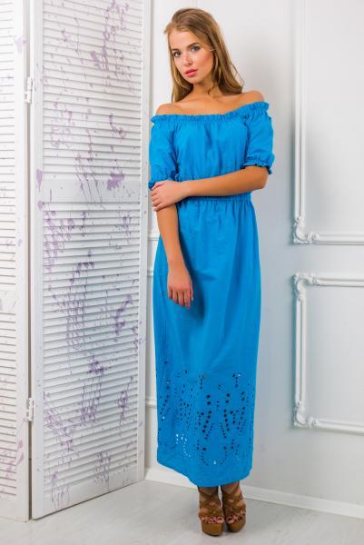 Платье -сарафан из цветного шитья цвет голубой  АЛЕСЯ