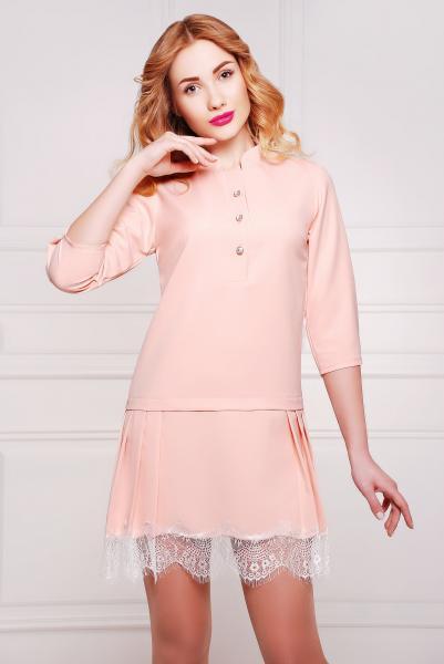 Платье с кружевом цвет пудровый розовый  НЭО