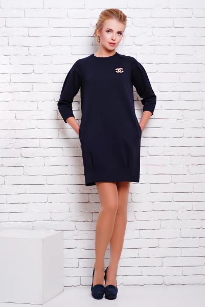 Платье с карманами цвет темно-синий  АДЕЛЬ