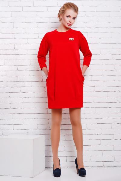 Платье с карманами цвет красный  АДЕЛЬ