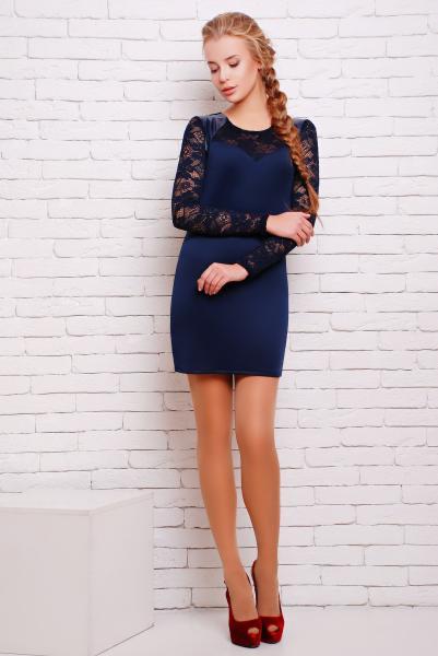 Платье облегающего силуэта цвет синий  ВИВА