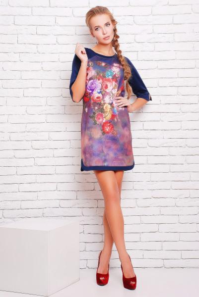 Платье -туника с цветочным рисунком цвет сиреневый  ДОЛЬЧЕ