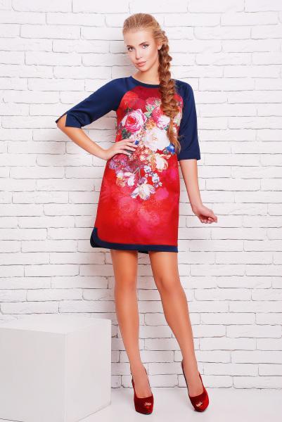 Платье -туника с цветочным рисунком цвет алый  ДОЛЬЧЕ