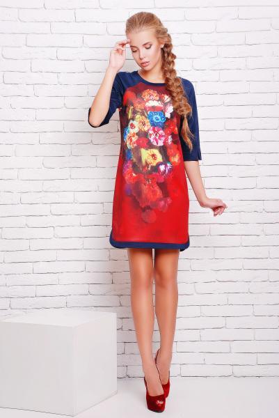 Платье -туника с цветочным рисунком цвет красный  ДОЛЬЧЕ