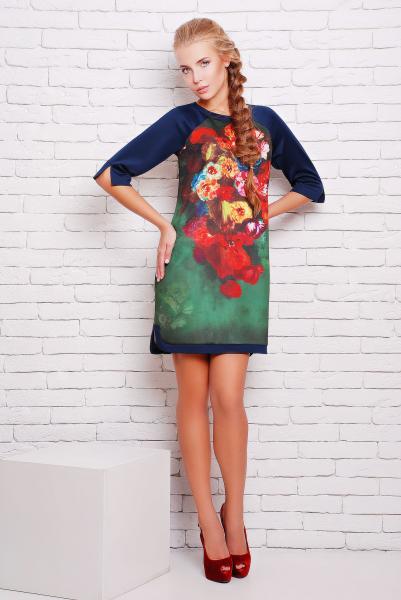 Платье -туника с цветочным рисунком цвет зеленый  ДОЛЬЧЕ