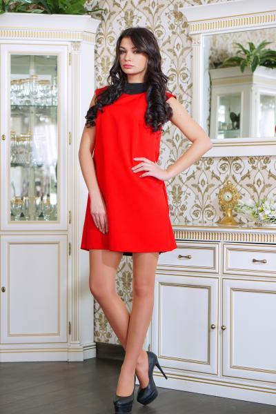 Платье коктейльное с бантиком цвет красный  ВАЛЕНТИНО