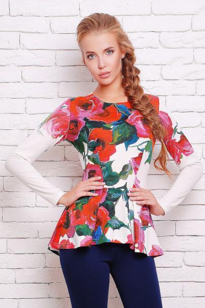 Блуза с баской яркие розы цвет белый  ШЕРИЗ