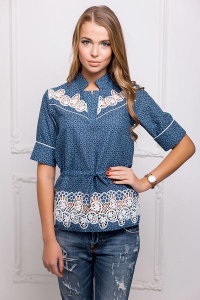 Блуза с белым кружевом цвет синий  КЭТТИ