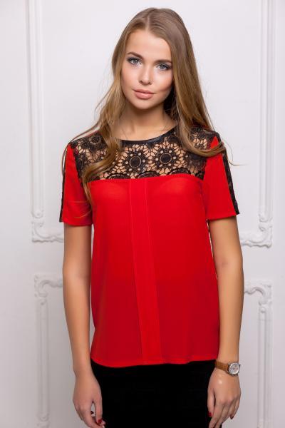 Блуза с черной кокеткой цвет красный  ЗАРИНА