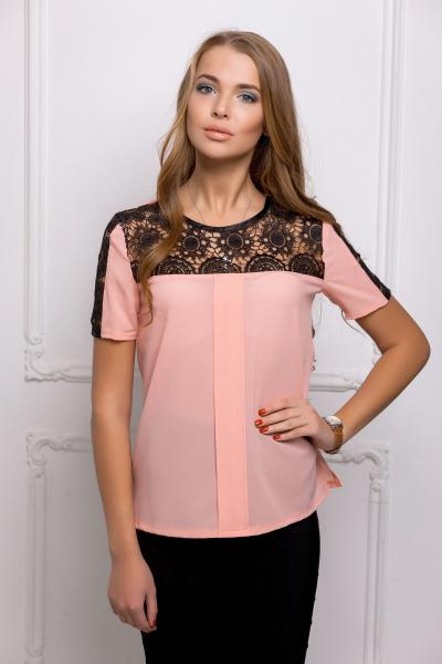 Блуза с черной кокеткой цвет розовый  ЗАРИНА