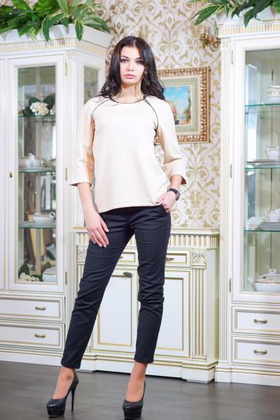 Блуза из стеганного трикотажа цвет бежевый  МИЛЕНА