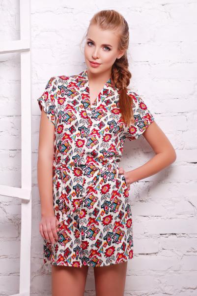 Платье -рубашка с кнопками белая  FOLK