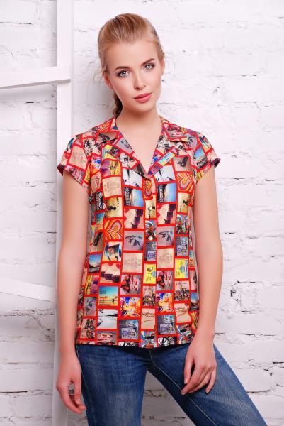 """Рубашка с принтом """"фото"""" цвет красный  FILM"""