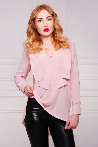 Рубашка с лацканами цвет персиковый  ДЖУН