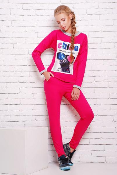Костюм спортивный с принтом цвет розовый  КЛЭР