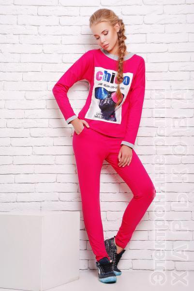 Костюм спортивный с принтом цвет розовый  КЛЭР - Спортивные костюмы женские на рынке Барабашова