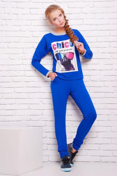 Костюм спортивный с принтом цвет синий  КЛЭР