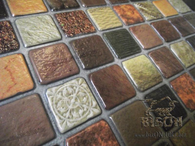 Фото Листовые панели ПВХ Мозаика «АНТИЧНОСТЬ КОРИЧНЕВАЯ»   Листовые панели ПВХ