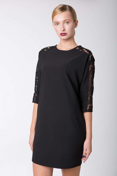 Платье коктейльное с кружевом ZARA черное