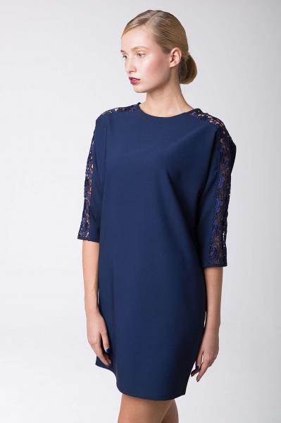 Платье коктейльное с кружевом ZARA темно-синее