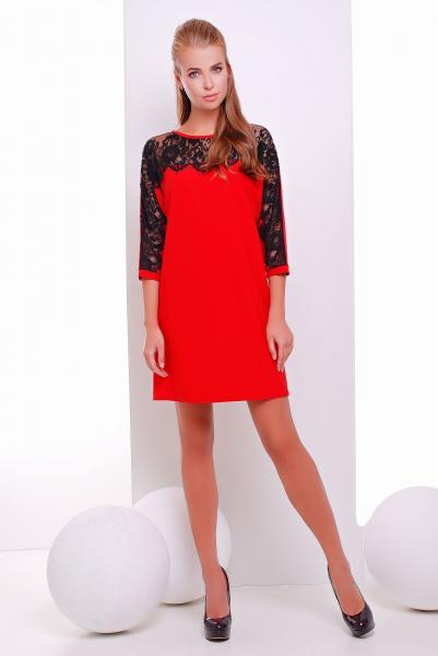 Платье коктейльное с кружевом ZARA красное