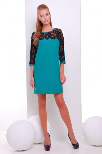 Платье коктейльное с кружевом ZARA зеленое