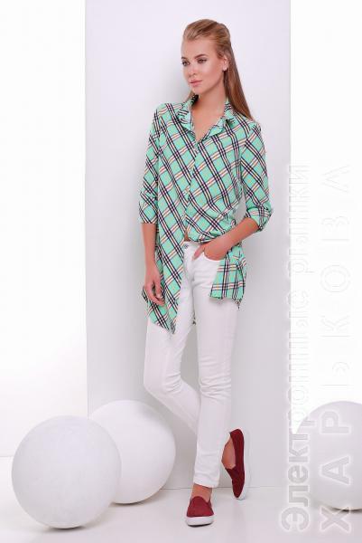 Платье-рубашка в клетку TAYLOR мятная - Платья с рукавами, теплые платья на рынке Барабашова