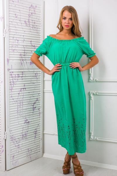 Платье-сарафан из цветного шитья АЛЕСЯ зеленое