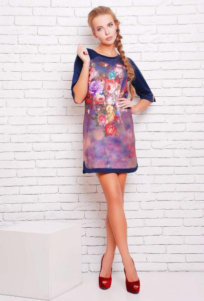 Платье-туника с цветочным рисунком ДОЛЬЧЕ сиреневое