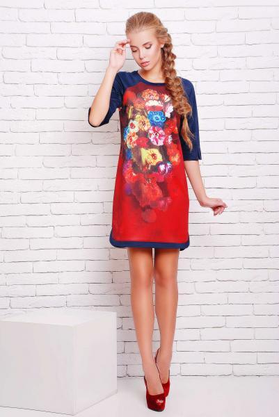 Платье-туника с цветочным рисунком ДОЛЬЧЕ красное