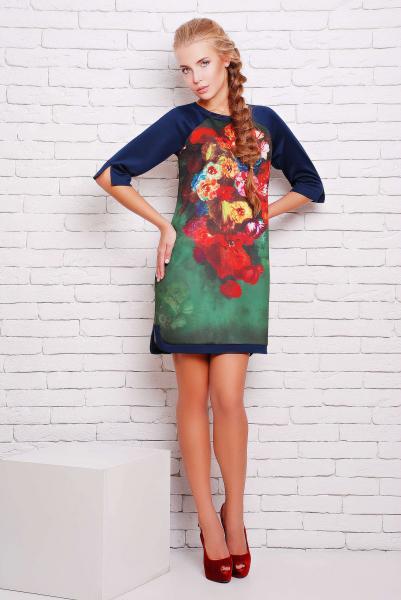Платье-туника с цветочным рисунком ДОЛЬЧЕ зеленое