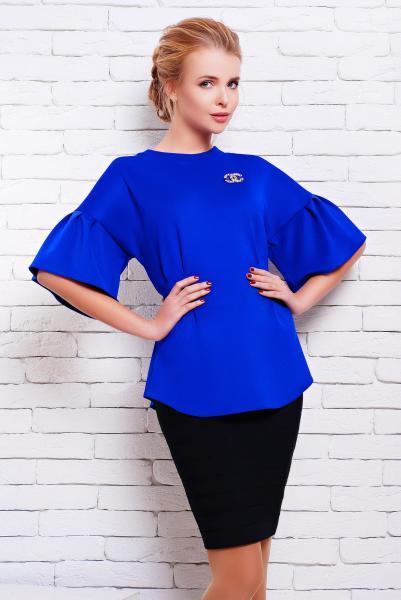 Блуза с пышными рукавами ИНЕС синяя