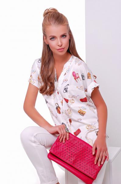 """Рубашка с принтом """"bags"""" FASHION белая"""