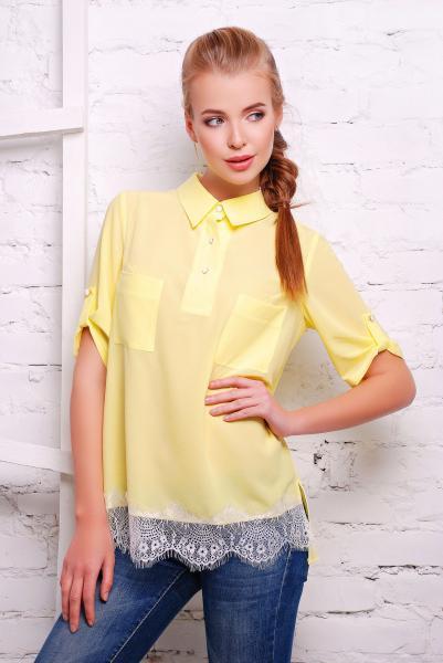 Рубашка с французским кружевом LOVE желтая