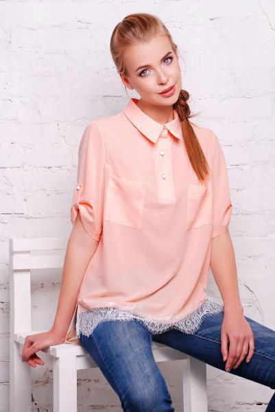 Рубашка с французским кружевом LOVE розовая