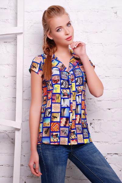 """Рубашка с принтом """"фото"""" FILM синяя"""