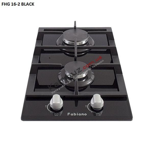 Варочная поверхность газовая Fabiano FHG 16-2 VGH Black Glass