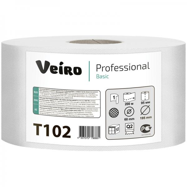 Бумага туалетная в средних рулонах VEIRO Professional Basic, 1сл, (200 и 450 м/рул,,ЦЕНЫ см. подробнее)
