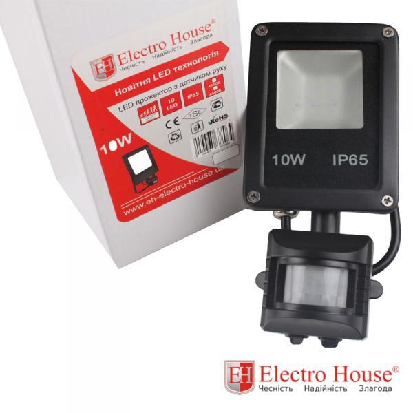 LED прожектор с датчиком движения 10W ElectroHouse EH-LP-211