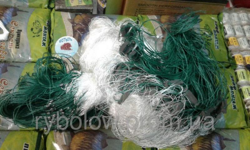 Сеть рыболовная 1.8х50 ячейка 35 НИТЬ ( трехстенная, дробинка, для промышленного лова )