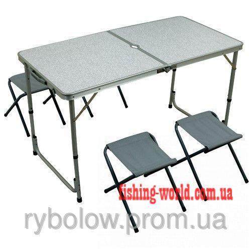 Фото Мебель туристическая Туристический складной стол + 4 стула, комплект стол со стульями