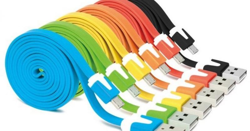 USB кабель (microUSB), резина, плоский