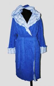 """Фото Купить халаты… Халат махровый запах, двойной капюшон """"Бирюза"""", арт. 0978, р-ры: 42-56"""