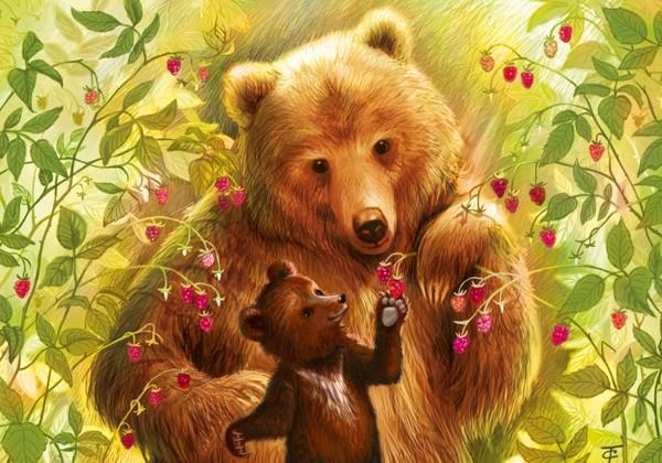 """Открытка """"Медведи в малиннике"""""""