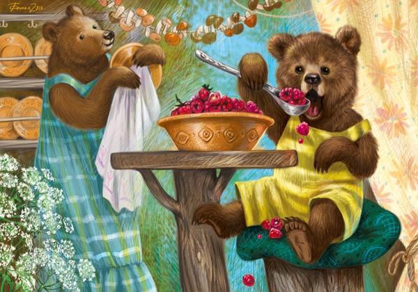 """Открытка """"Медвежонок с малиной"""""""