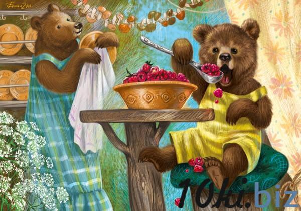"""Открытка """"Медвежонок с малиной"""" - Открытки и подарочные конверты в Санкт-Петербурге"""