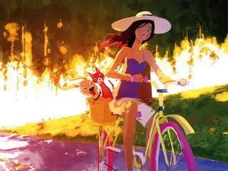 """Открытка """"В путешествие на велосипеде"""""""
